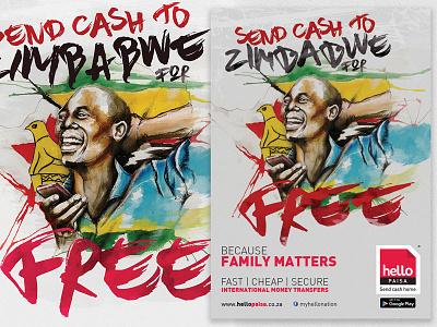 Hello Paisa Free to Zimbabwe Illustration graphic design advertising illustration zimbabwe free watercolour watercolor