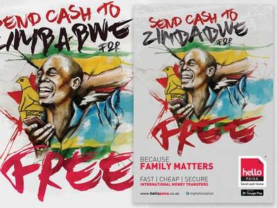 Hello Paisa Free to Zimbabwe Illustration graphic design advertising illustration zimbabwe free watercolour watercolor