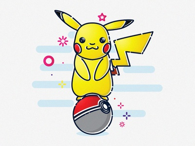 Pikachu (Pokémon) MBE Style Tribute vector illustration line mbe pikachu pokemon
