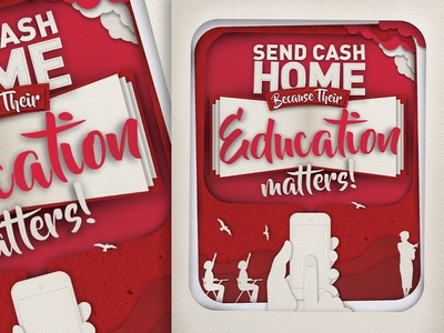 Hello Paisa Brand Awareness Education Paper Concept remittance mobile white red vector paper texture photoshop education awareness illustration brand