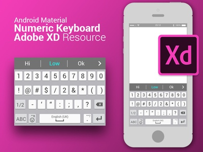 Android material numeric keyboard resource for Adobe XD xd resource resource numeric keyboard numeric xd adobe xd ux android