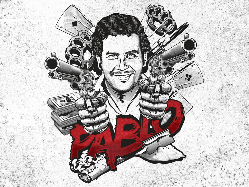 Pablo Escobar Mafia man t-shirt design competition 99designs tshirt design apparel typography vector t-shirt illustration