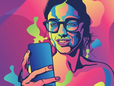 Lady illustration for mobile Usability testing vector woman bright color colorful app usability mobile illustrator illustraion