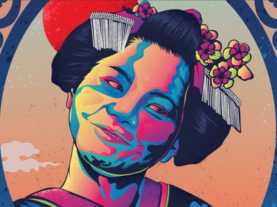 Geisha Eastern Sun Illustration japanese woman gradient mixed photoshop vector illustration geisha