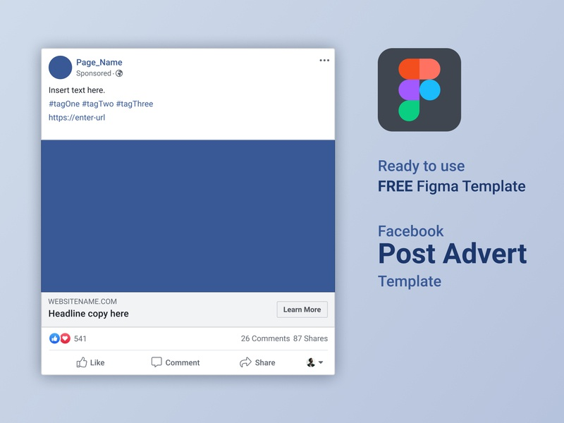 FREE Figma Facebook Advert Post Template logo copywriting socialmedia ux ui design figmaafrica figmadesign figma autolayout facebook advertising template free
