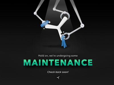 Yvolver Maintenance Screen illustration shadows maintenance boomerang green