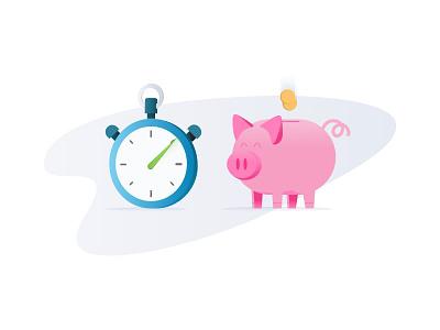 Time & Money graients stopwatch pig bank piggybank spot illustration clock