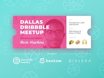 Dallas Dribbble Meetup Nov. 1! pink ticket meetups meetup dribbble dallas