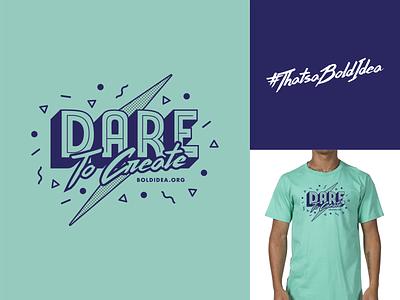 Dare to Create Shirt 80s style 80s retro blue green tshirt