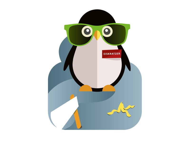 Penguin with Glasses and Banana Peel. illustration