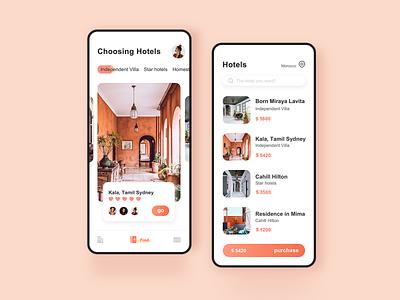 Reservation Hotel app app 设计 ui