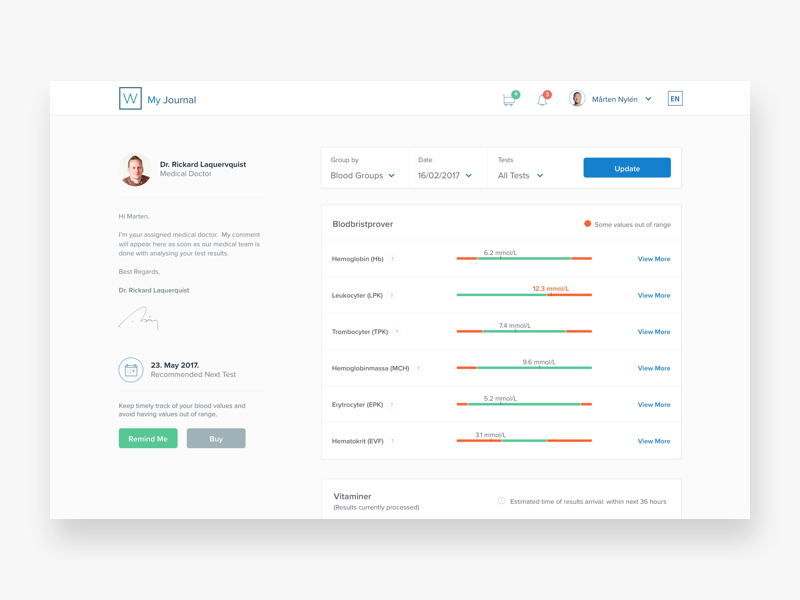 Medical Journal Dashboard minimal clean design dashboard ehealth medtech health medical