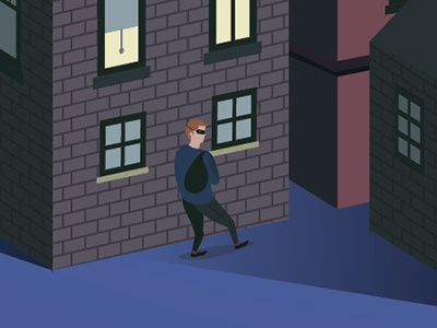 robber illustration vector robber night apartment building brick shadow sack
