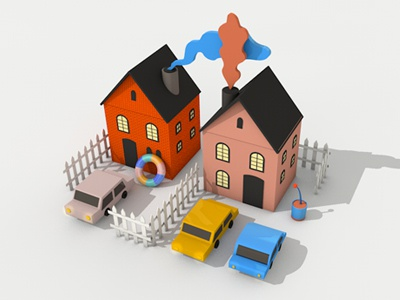 whatcha cooking? 3d c4d house car illustration fence mini