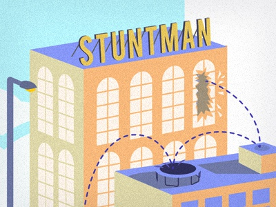 Stuntman illustration vector action jump typography building trampoline