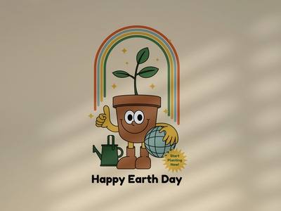 Happy Earth Day retro mascot mascot logo cartoon mascot badgedesign drawing illustration vintage badge retro vintage logo badge logo badge