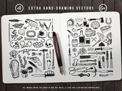 Rough Hand Drawing tattoo knive weapon skull doodle sketch hand drawing drawing illustration