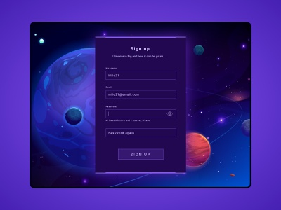 #DailyUI challenge 001 - sign up sci fi form dark ui universe galaxy sign up game ui tablet