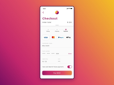 #DailyUI challenge 002 - credit card checkout minimal payment gradient light credit card checkout form checkout mobile dailyui