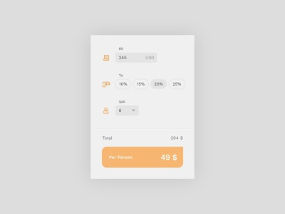 #DailyUI challenge 004 - calculator icons calculator orange minimalist light bills design ui design ui