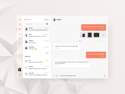 #DailyUi challenge 013 - direct message orange fluent design fluent desktop design desktop app desktop message app message light minimal uidesign design dailyui ui