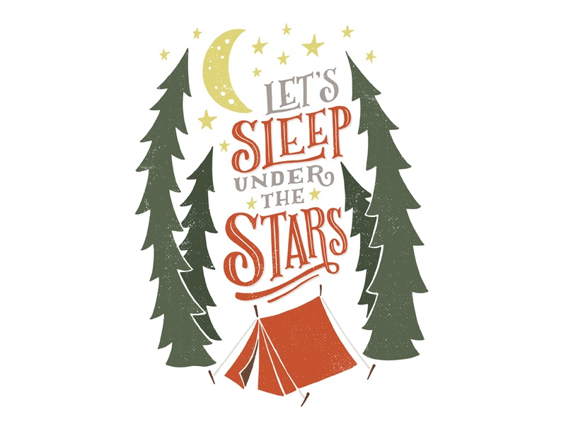 Quiet Boy Studio - Sleep Under The Stars illustration graphic design design hand lettering typography