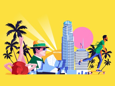 Los Angeles - BBC Culture Traveller los angeles losangeles bbc culture bbc culture bbc colors adobe editorial art design artwork digital illustrator illustration vector