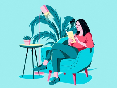 Reading ilustracion digitalart animation colors adobe art inspiration design artwork editorial digital illustration illustrator vector