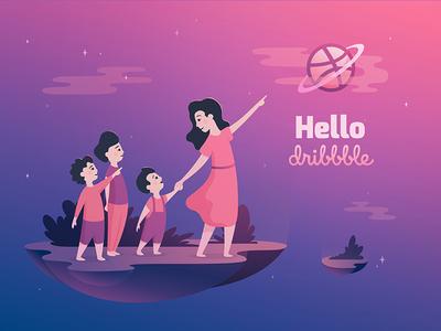 Hello Dribbble children people space illustration first-shot hello dribbble vector illustration vector debut