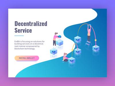 Decentralized Service Illustration service cryptocurrency blockchain bitcoin design gradient isometric crypto ui web illustration