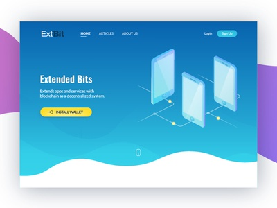 Home page illustration service cryptocurrency blockchain design gradient isometric crypto ui web page home illustration