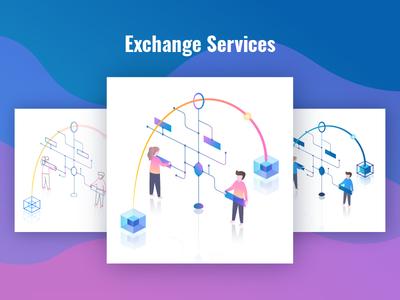 Exchange Services Illustration service cryptocurrency blockchain bitcoin design gradient isometric crypto ui web page illustration