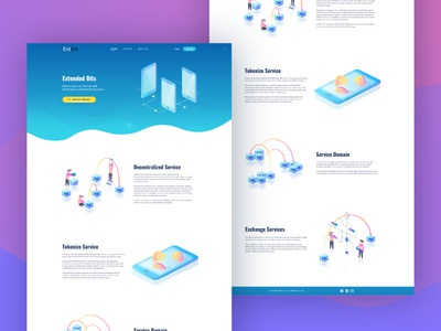 Isometric illustrations for landing page service cryptocurrency blockchain bitcoin design gradient isometric crypto ui web illustration