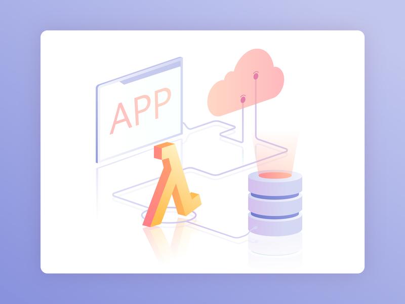 Go Serverless database connection code technology applicaiton design programming website illustration app cloud data technologies web gradient vector isometric illustration