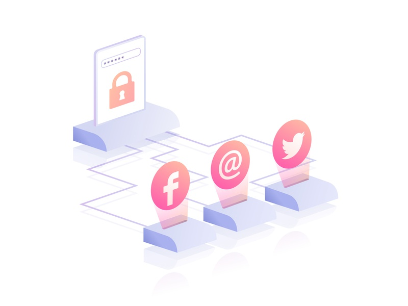 One Password Required service web gradient isometric privacy website illustration vector illustration social media password
