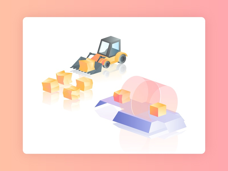 Apps Renewal Technology track digger excavator building blocks updated box apps vector gradient web isometric illustration