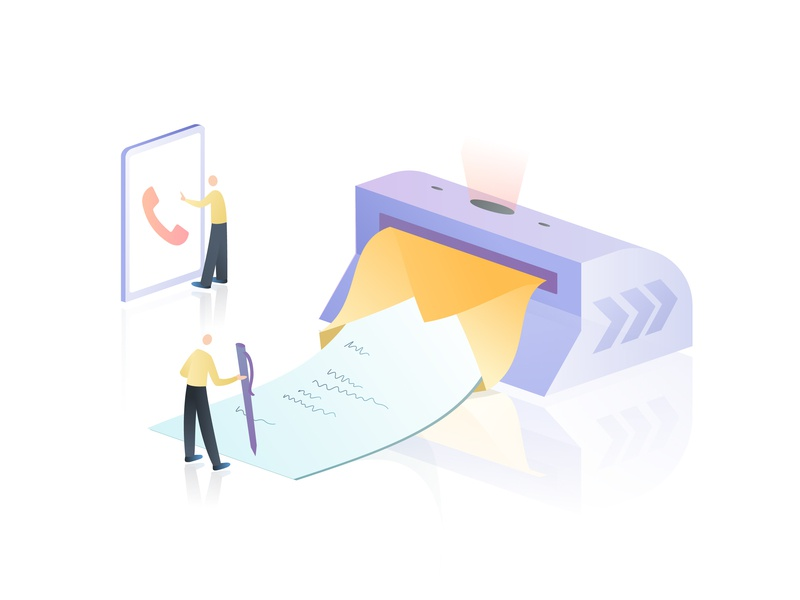 Contact Us email phone character people vector gradient web isometric illustration page contact us contact list