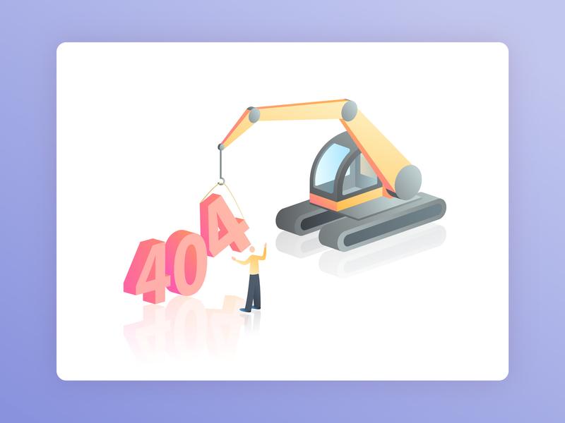 Error 404 - Page not found 404 error 404 page machine excavator track machine not found vector gradient isometric web illustration