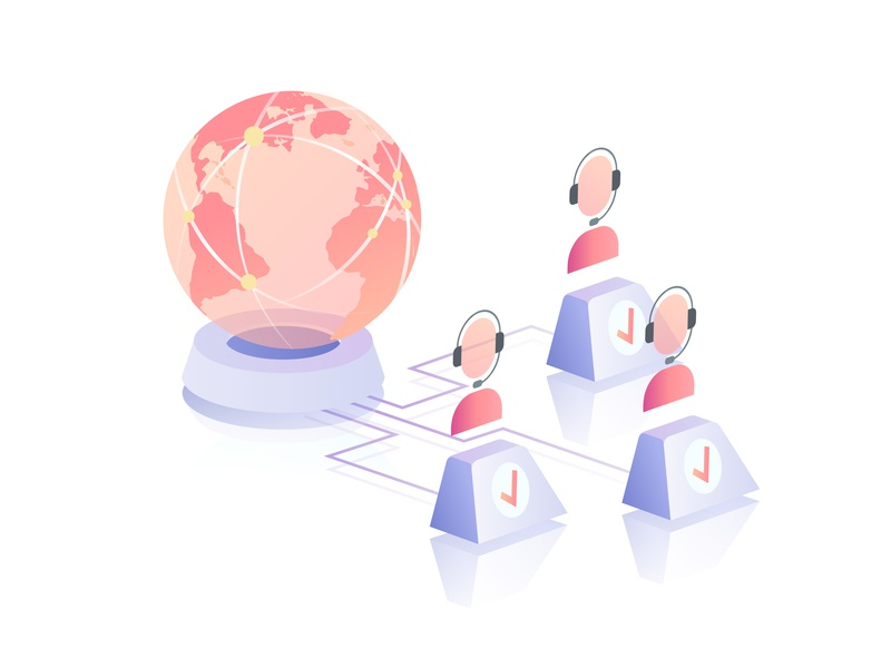 Call center in the Cloud cloud earth call center vector web gradient isometric illustration