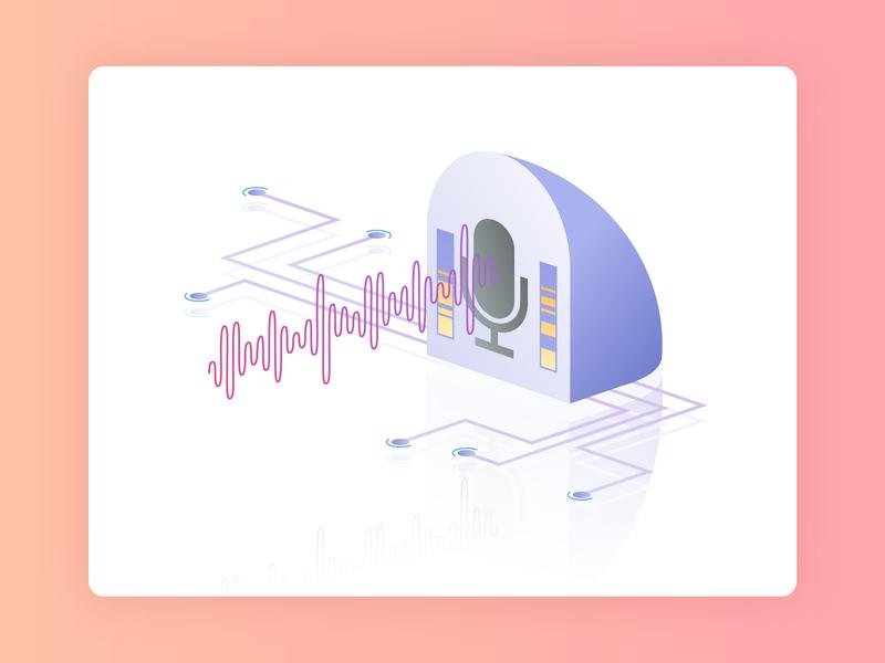 Voice Control siri alexa recording icon isometry voice assistant voice service ui vector web isometric illustration