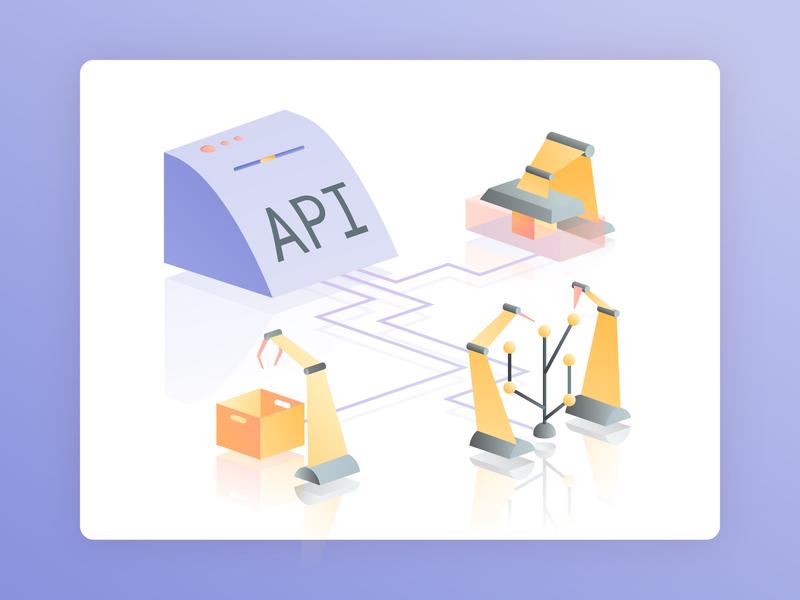 API Gateway technology programing code api ui vector web isometric illustration