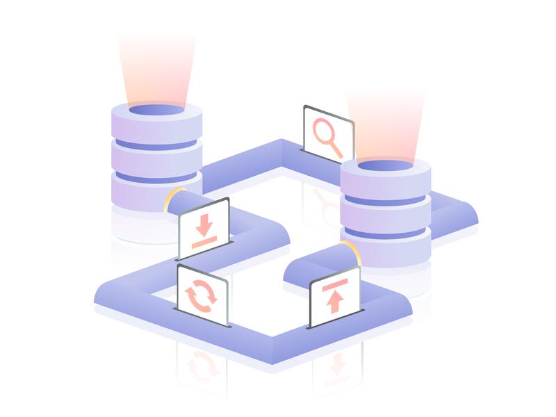 Data Pipeline database data ui design vector gradient web isometric illustration
