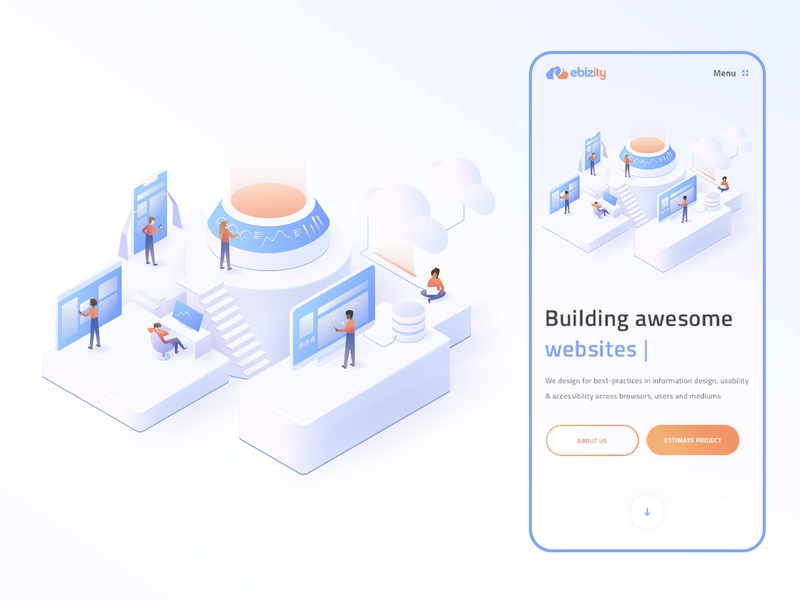 eBizity Homepage Illustration vector gradient web isometric illustration modern minimal gradient vector digital ui ux webdesign people characters person software tools technicals clean isometric illustration ui illustrator