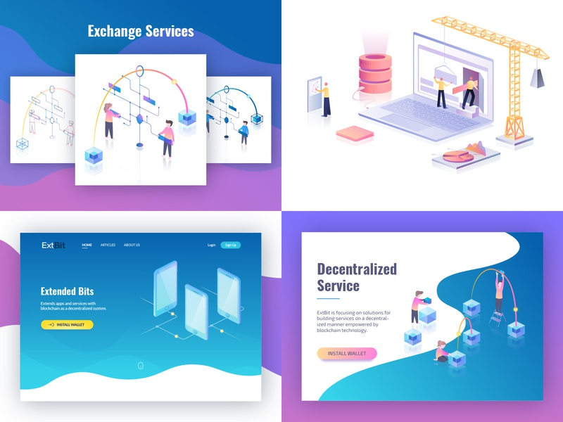 My top 4 shots from 2018 modern minimal gradient vector digital ui ux webdesign people characters person software tools technicals clean isometric illustration ui illustrator gradient isometric illustration
