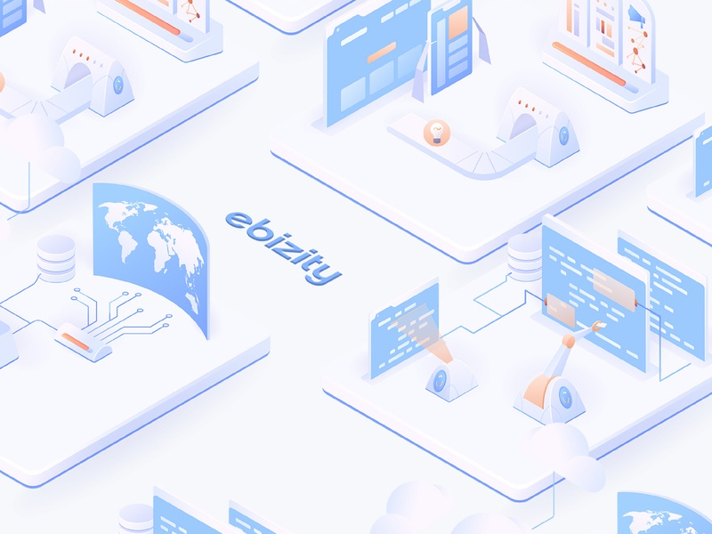 eBizity Illustrations modern minimal gradient vector digital ui ux webdesign people characters person software tools technicals clean isometric illustration ui illustrator vector gradient web isometric illustration