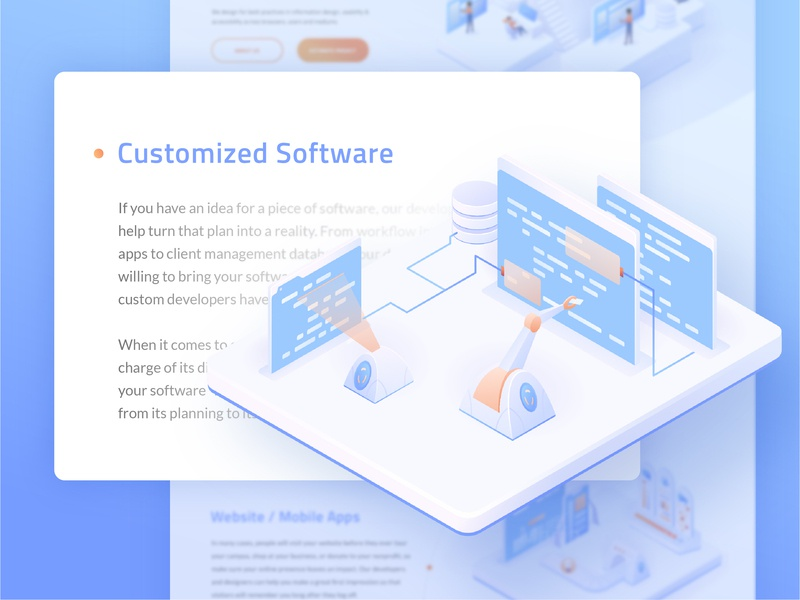 Customized Software Illustration modern minimal gradient vector digital ui ux webdesign people characters person software tools technicals clean isometric illustration ui illustrator