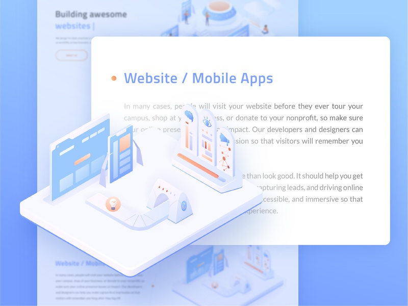 Website / Mobile Apps Illustration vector gradient isometric illustration modern minimal gradient vector digital ui ux webdesign people characters person software tools technicals clean isometric illustration ui illustrator