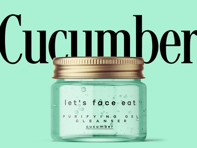 Cosmetic Packaging Design Concept beauty product simple clean green cucumber face eat young beauty clenaser