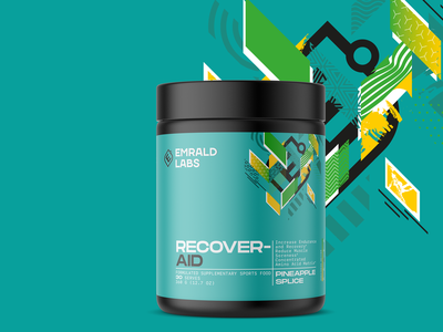 Emrald Labs Sport Supplements Logo & Packaging typography clean modern young emeralds teal recover packaging protein packaging protein identity protein design sport identity sport packaging emerald logo labs emerald supplement