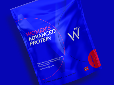 W PRO   Whey Protein Concept logo branding clean modern professional supplement world of whey blue bag pouch bag blue powder supplement whey